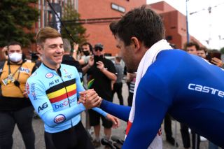 Belgian's Remco Evenepoel finished third in elite men's time trial in Flanders at the Road World Championships, and congratulated winner Filippo Ganna (Italy)