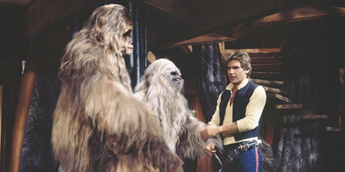 Harrison Ford and Wookiees in Star Wars Holiday Special