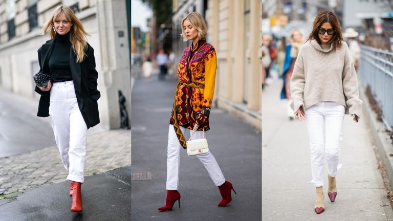 three street style models wearing white jeans outfits