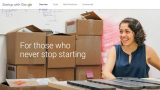 Startup with Google screenshot says 'For those who never stop starting'