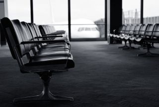 Rows of chairs at an airport gate
