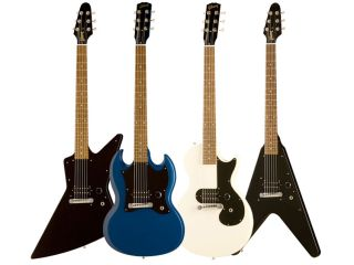 The new range comprises four models utilising the iconic Les Paul, SG, Explorer and Flying V outlines. All four shapes are available in satin blue, satin ebony and satin white.