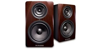 The M-Audio M3-8 studio monitor offers three-way fidelity in a compact two-way footprint