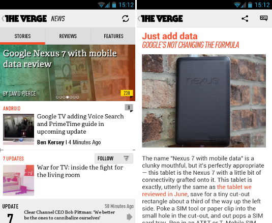 The Verge Android screen design