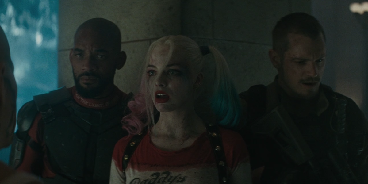 Harley, Deadshot, and Flag in Suicide Squad