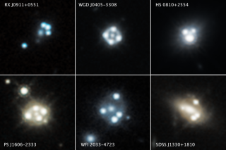 "These Hubble Space Telescope images include reveals four distorted images of a background quasar and its host galaxy surrounding the central core of a foreground massive galaxy. Using the effects of gravity within this system, researchers were able to indirectly detect dark matter and find clumps of ""cold dark matter"" smaller than any similar clumps ever detected."