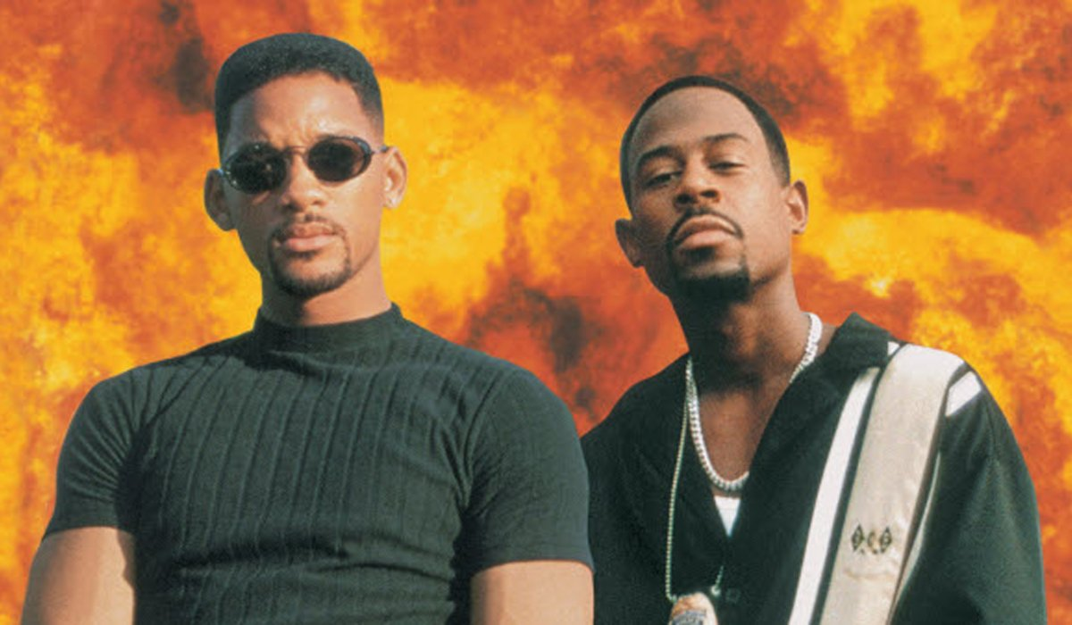 Bad Boys Will Smith and Martin Lawrence mug in front of fire