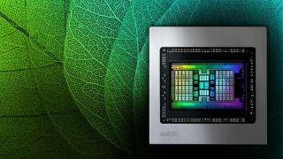 AMD chip shown on a green leaf