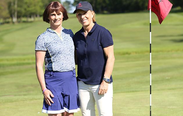 Martina Navratilova with transgender golfer Alison Perkins