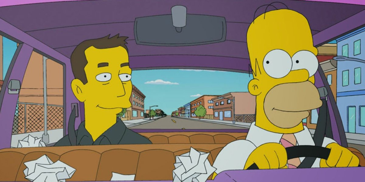 Elon Musk with Homer Simpson on The Simpsons