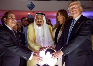 trump and glowing orb