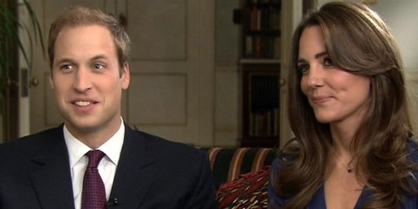 Prince William Princess Catherine smiling during engagement session