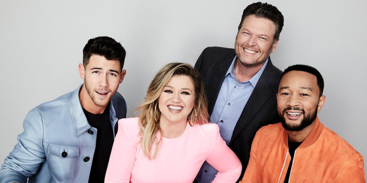 The Voice coaches Nick Jonas, Kelly Clarkson, John Legend, Blake Shelton