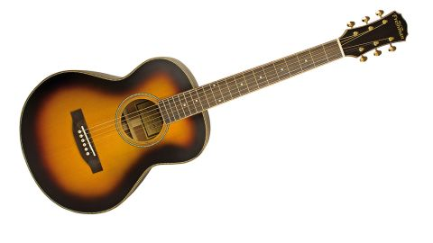 The solid Sitka spruce top and solid mahogany back and sides have a fetching dark sunburst