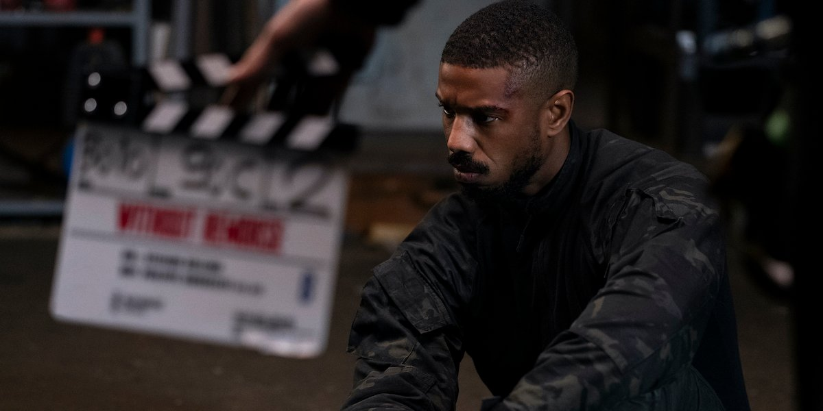 Michael B. Jordan on set in Tom Clancy's Without Remorse