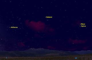 Mars and Spica Sky Map July 2014