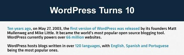 Blogging platform WordPress celebrates 10th birthday