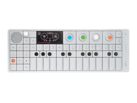 The OP-1 is built from aluminium and boasts a striking retro-futurist design.