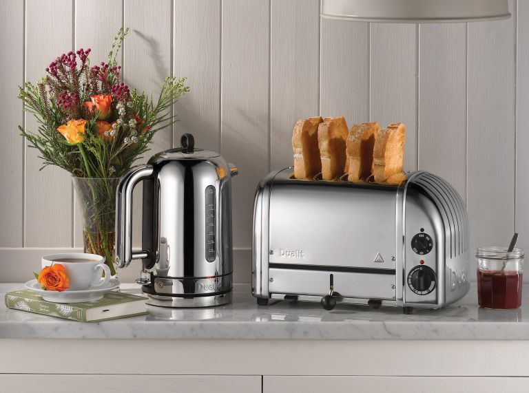 best toaster: Dualit toaster and kettle in a kitchen with flowers