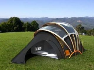 Orange s new concept tent includes a solar powered hub wireless internet gadget charging and under floor heating