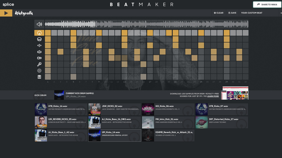 Get busy in your browser with the Waka Flocka Beat Maker