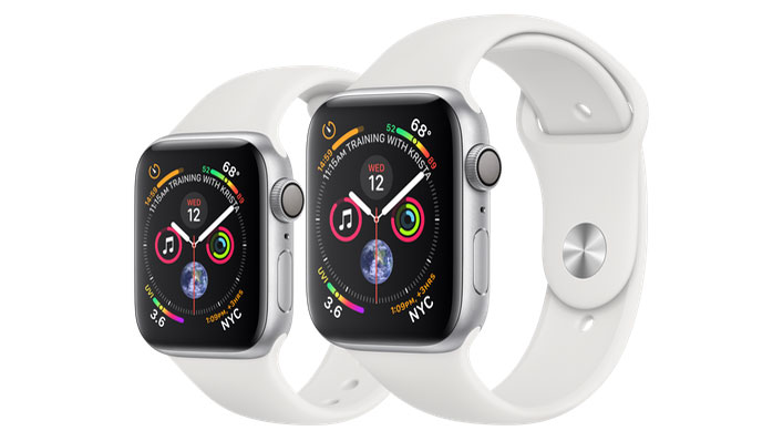 40mm Apple Watch 4 on the left and the 44mm model on the right (Image Credit: Apple)