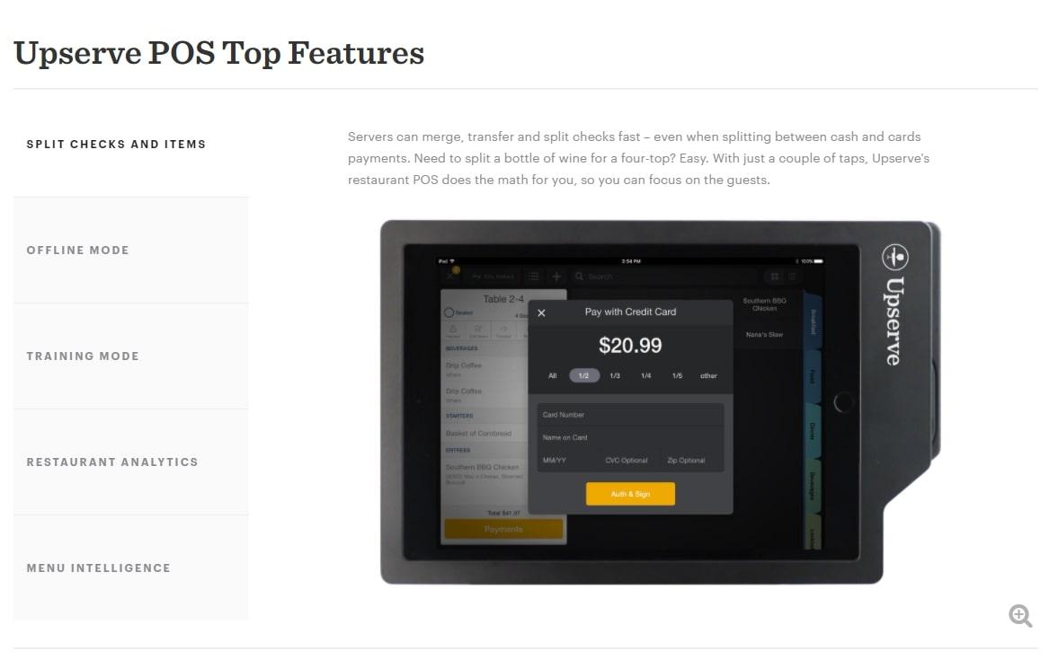 Upserve features screenshot