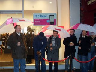 Even in the rain, queuers were in high spirits