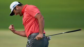 Jon Rahm celebrates on his way to winning the BMW Championship on August 30, 2020, boosting him to second in the standings heading into the PGA Tour Championship.