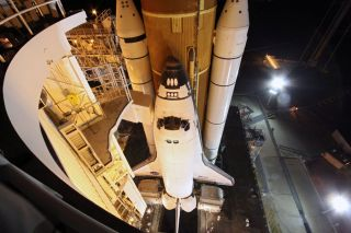 At NASA's Kennedy Space Center in Florida, space shuttle Endeavour awaits its final liftoff from Launch Pad 39A.