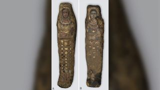 The male (left) and female (right) mummies first found in Saqqara, Egypt in 1615.