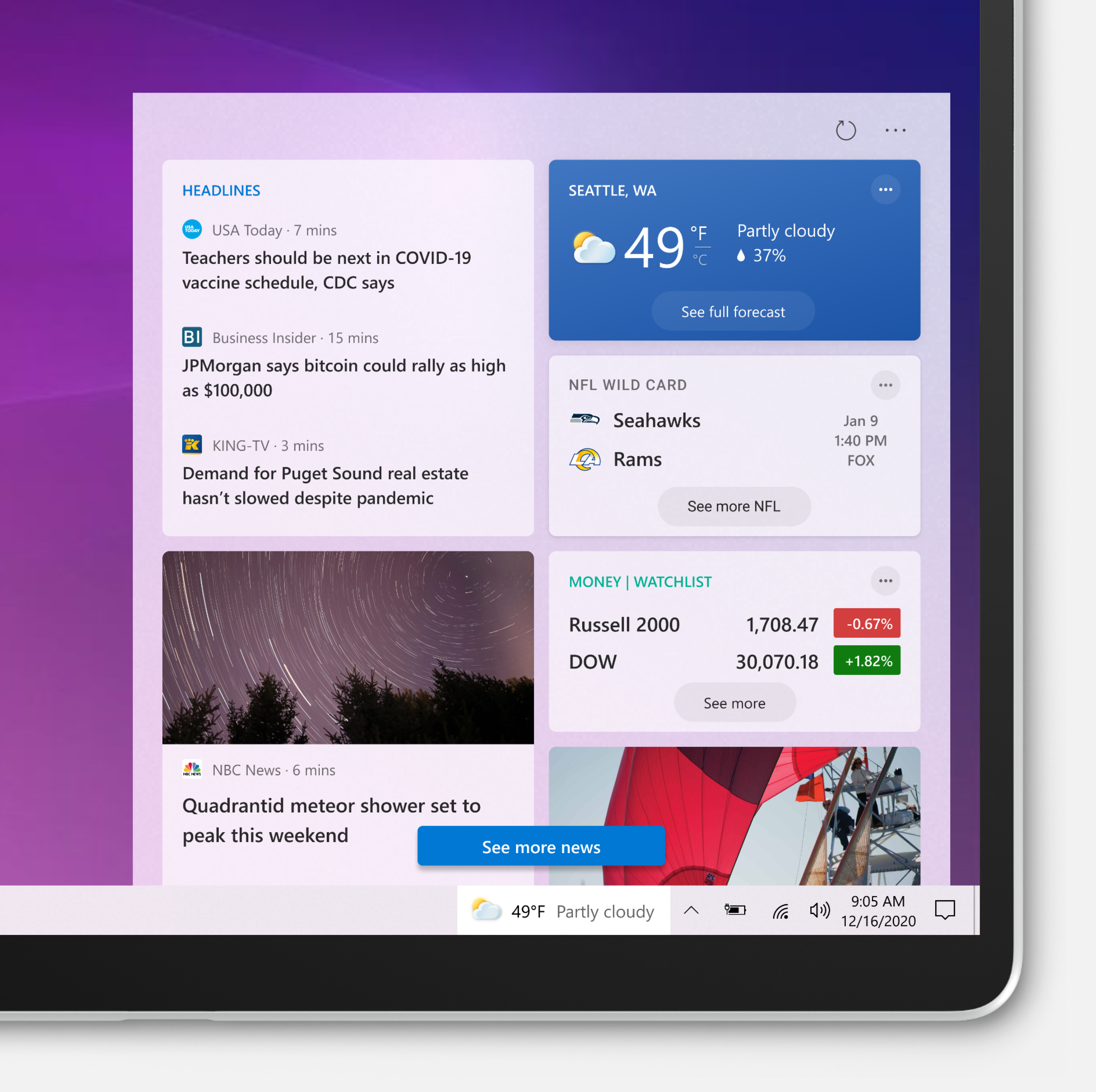 Windows 10 update for news and weather