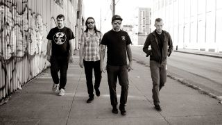 a shot of converge walking down a street towards the camera