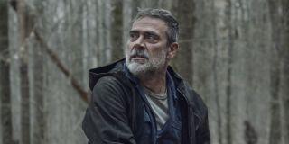 jeffrey dean morgan's negan angry in the woods on the walking dead season 11