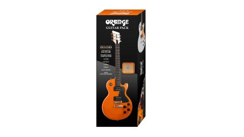 The pack includes an Orange guitar, Crush PiX CR12L amp, gigbag, headstock tuner, cable, strap and picks