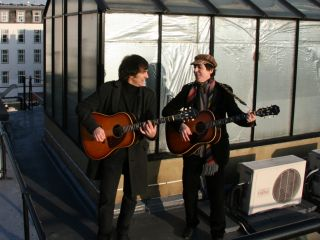 Two of us: Bootleg George and Paul up on the roof