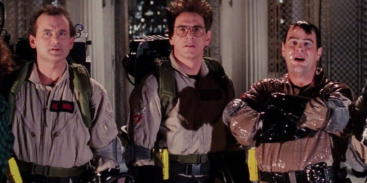 Bill Murray on the left, Harold Ramis in the middle, and Dan Aykroyd on the right