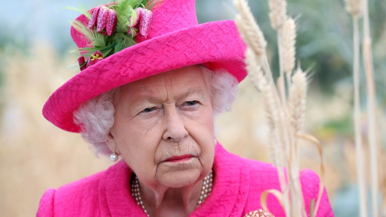 Queen Elizabeth II during a visit to the NIAB, (National Institute of Agricultural Botany) on July 09, 2019 in Cambridge, England