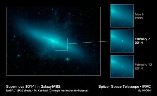 Supernova SN 2014J Seen by Spitzer Space Telescope