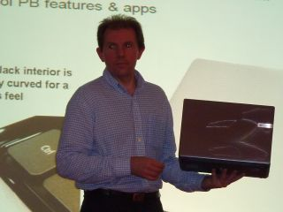 Packard Bell's product manager showing off the new Butterfly S range