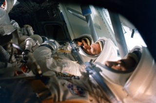 Grissom, Chaffee and White in Spacecraft Design Review