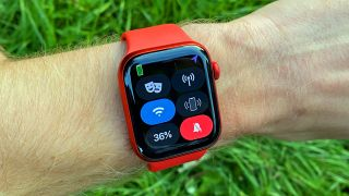 Apple Watch 6 on someone's wrist with the Settings menu up
