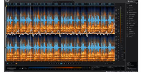 The main area is dominated by a waveform/spectrogram display, where most of the editing magic takes place
