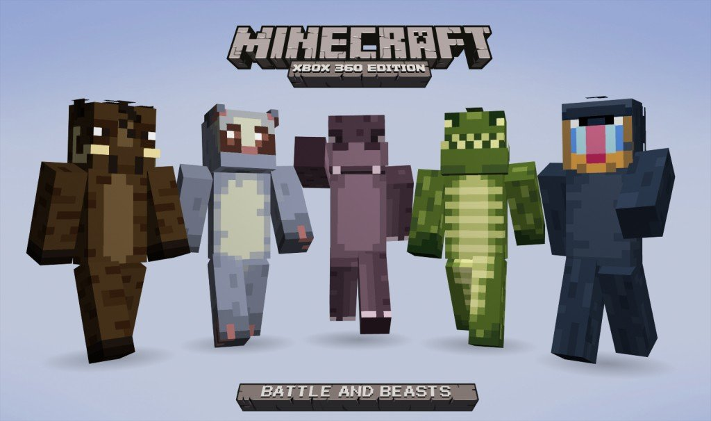 Minecraft Xbox 360 Edition Battle And Beasts Skin Pack ...