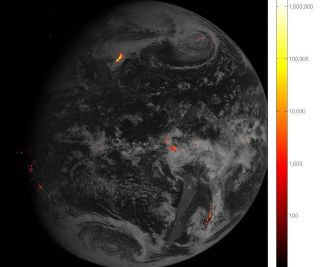 The Geostationary Lightning Mapper can track lightning strikes across North and South America, helping researchers understand how storms develop. This image combines an hour's worth of lightning data obtained on Feb. 14, 2017.