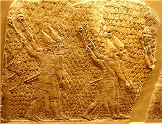Dated from the beginning of the seventh century B.C., it shows Assyrian slingers in action at a siege of the Israelite city of Lachish in 710 B.C.