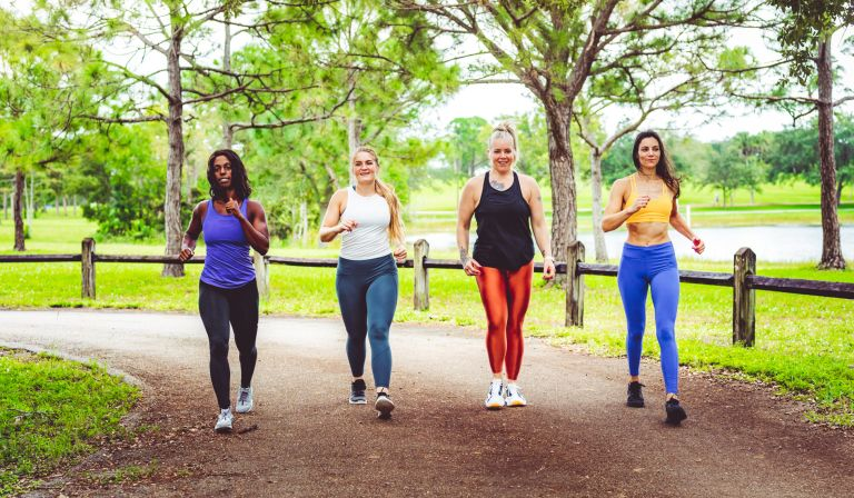 Group of women walking for weight loss