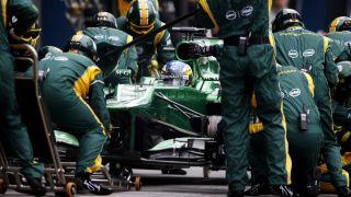Caterham F1 car in pit