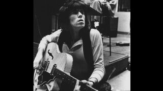 Keith Richards playing an EG240 Supreme in the recording studio, 1969