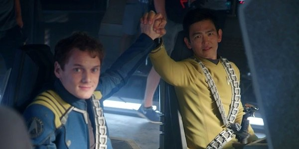 Anton Yelchin and John Cho on set
